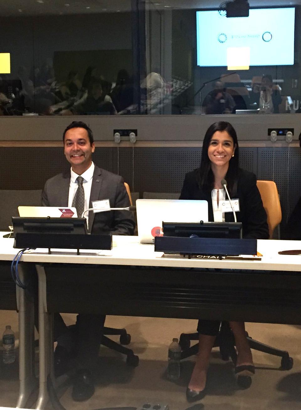 Dr Rajiv Jhangiani and Natalia Norori (right) at a panel at UN HQ in 2018.