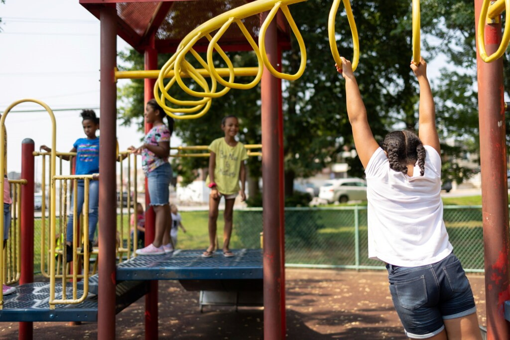 July 6 photo of children at a playground in Philadelphia.